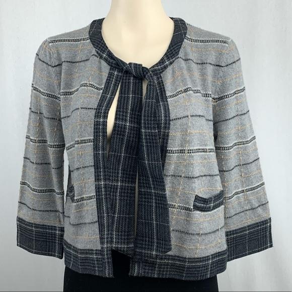 Diane Von Furstenberg Sweaters - Diane Von Fustenberg Wool Plaid Necktie Cardigan M